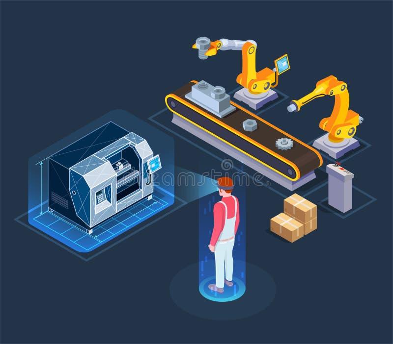 Composição isométrica aumentada industrial da realidade ilustração stock
