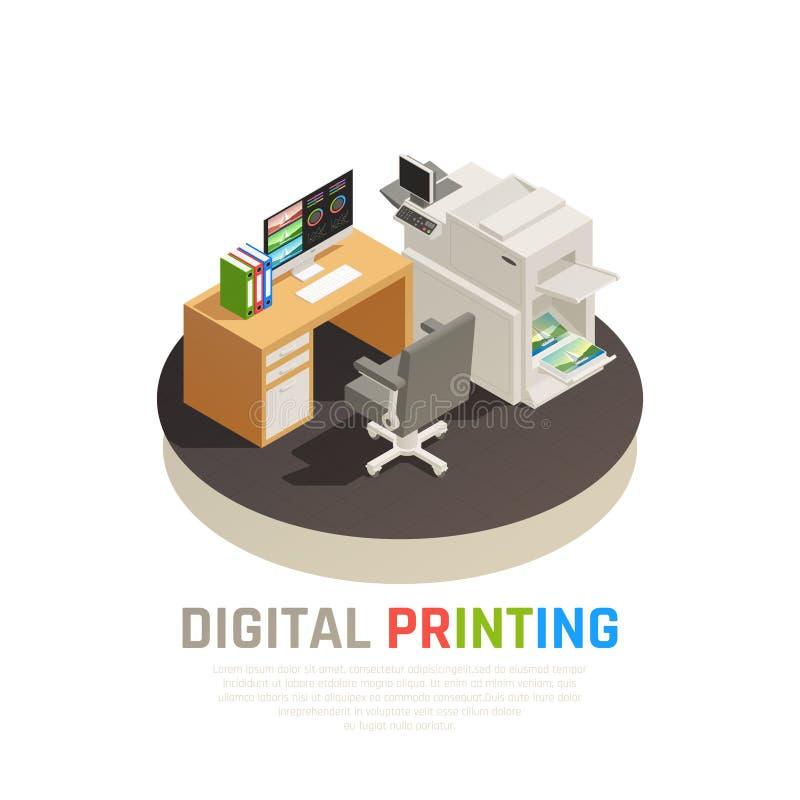 Composição isométrica da casa de impressão ilustração stock
