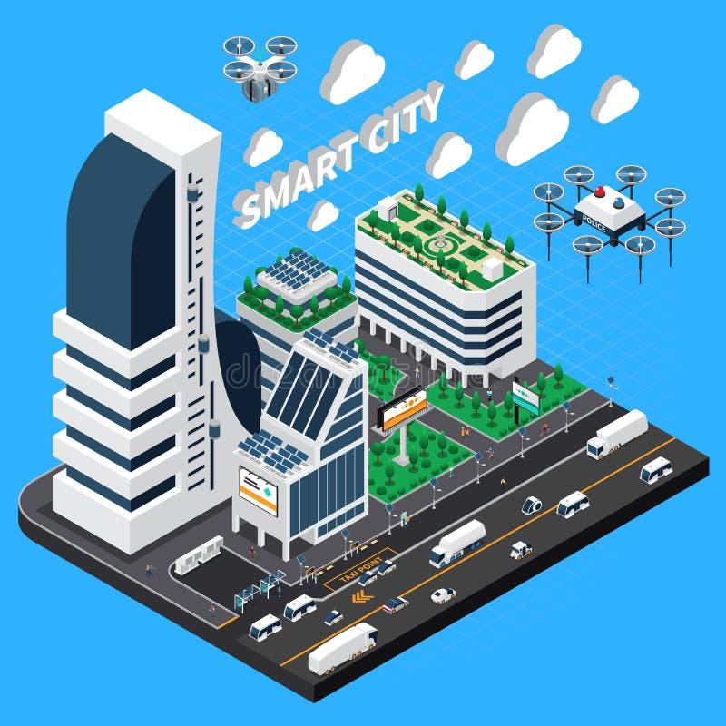Composição isométrica da cidade esperta ilustração stock