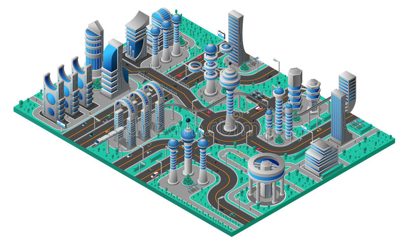 Composição isométrica da cidade futura ilustração royalty free