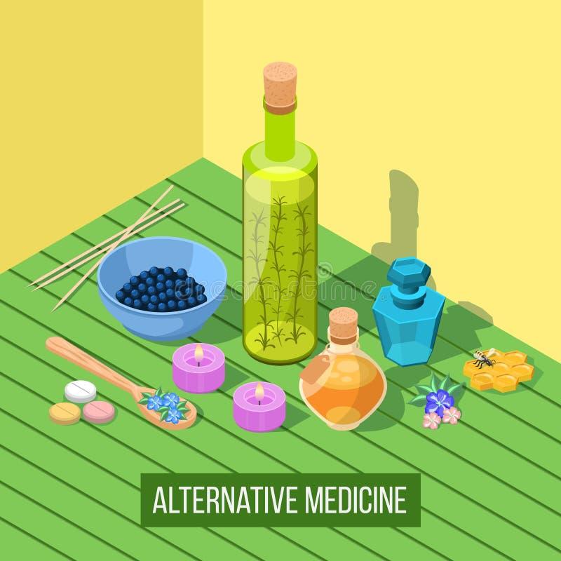 Composição isométrica da medicina alternativa ilustração stock