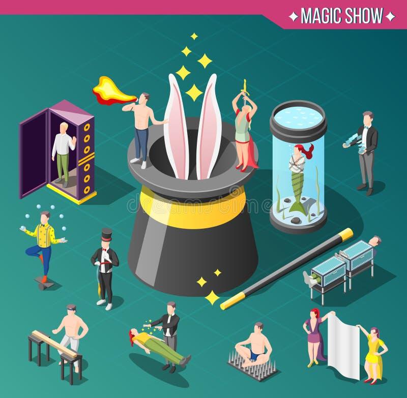 Composição isométrica da mostra mágica ilustração stock