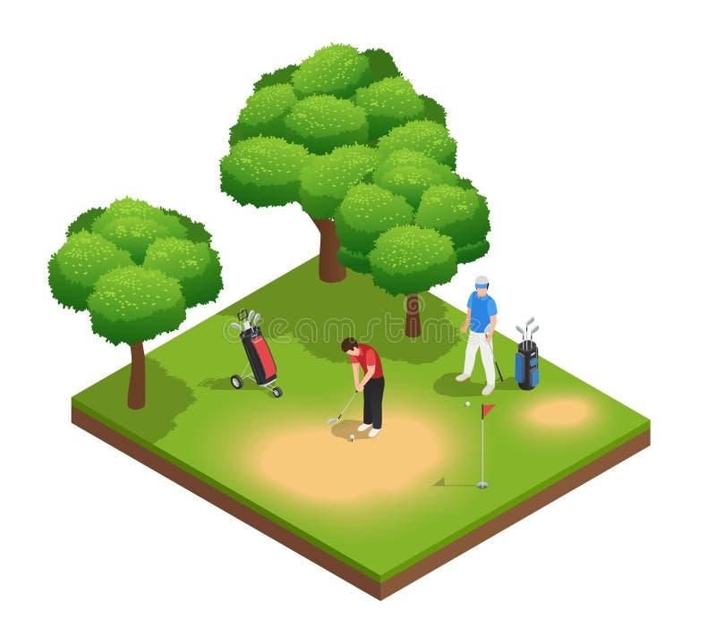 Composição isométrica da opinião superior do golfe ilustração royalty free