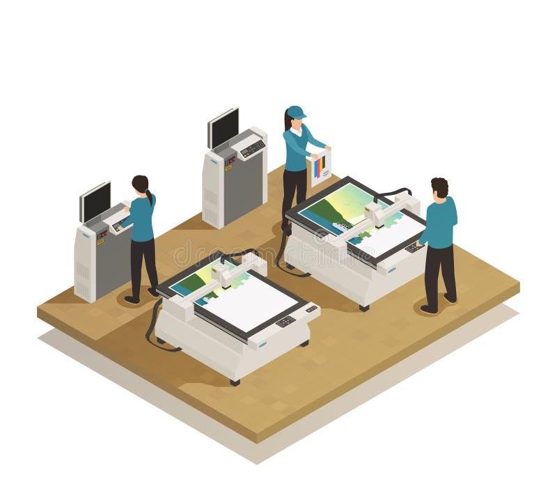 Composição isométrica da produção da casa de impressão ilustração royalty free