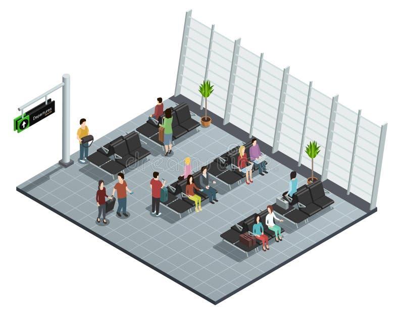Composição isométrica da sala de estar da partida do aeroporto ilustração royalty free