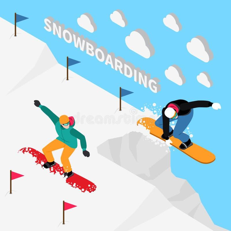 Composição isométrica da trilha da snowboarding ilustração do vetor