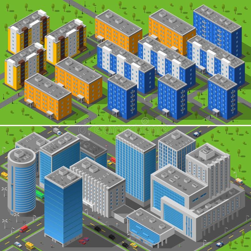 Composição isométrica das bandeiras das construções 2 da cidade ilustração stock