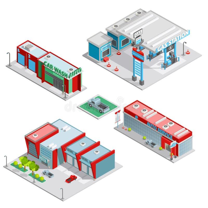 Composição isométrica das construções do centro de serviço do carro ilustração do vetor
