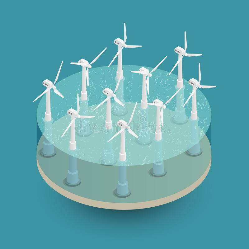 Composição isométrica das energias eólicas verdes ilustração royalty free