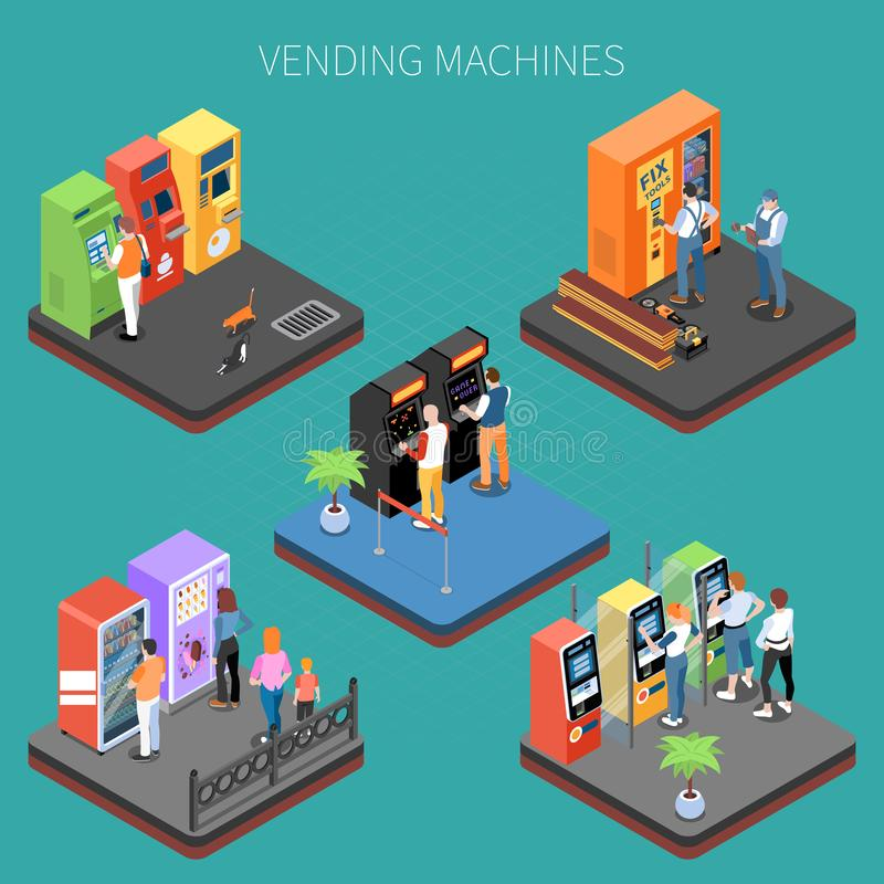 Composição isométrica das máquinas de venda automática ilustração stock