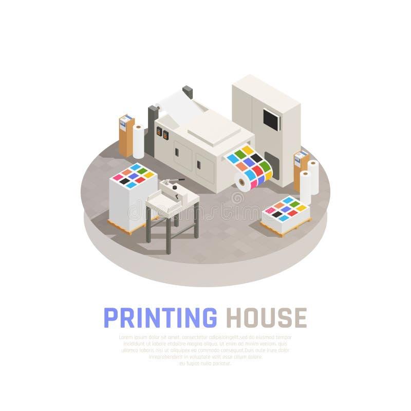 Composição isométrica de Polygraphy da casa de impressão ilustração do vetor
