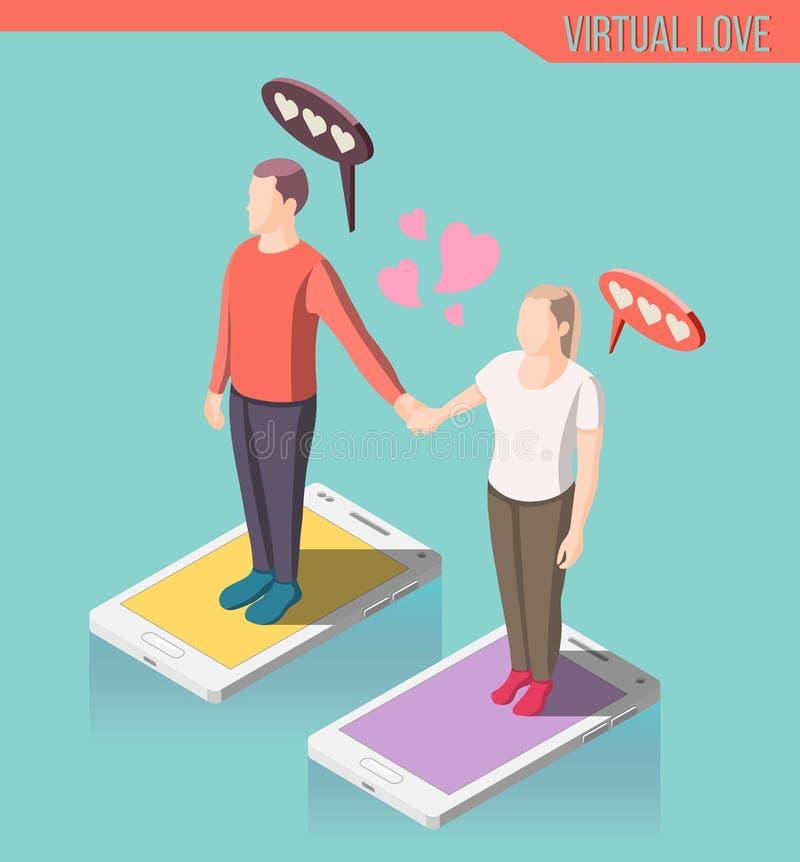 Composição isométrica do amor virtual ilustração stock