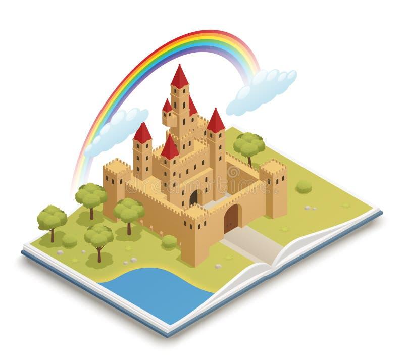 Composição isométrica do castelo do conto de fadas ilustração do vetor