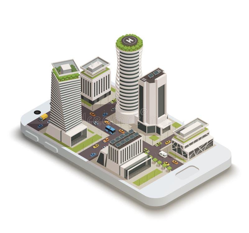 Composição isométrica do centro da cidade esperto ilustração do vetor