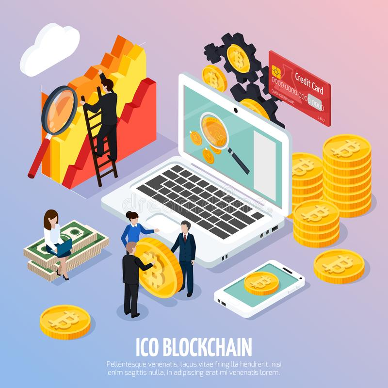 Composição isométrica do conceito de ICO Blockchain ilustração royalty free