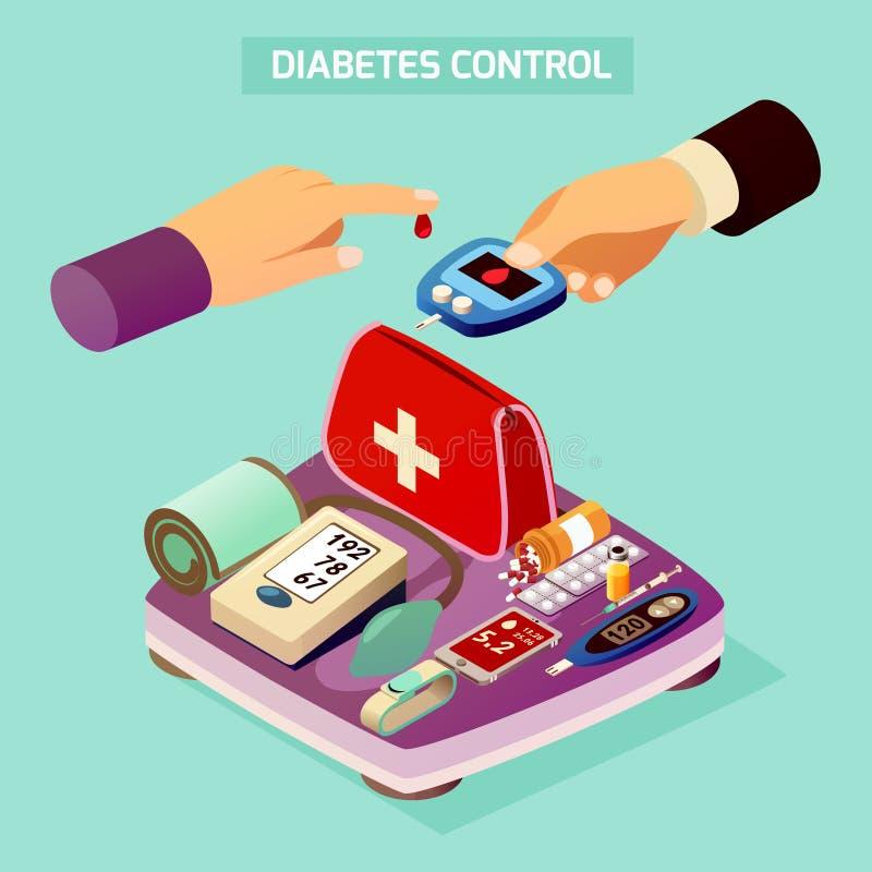 Composição isométrica do controle do diabetes ilustração do vetor