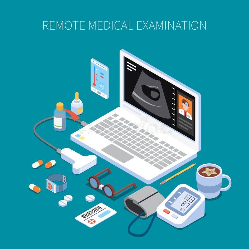 Composição isométrica do exame médico remoto ilustração stock