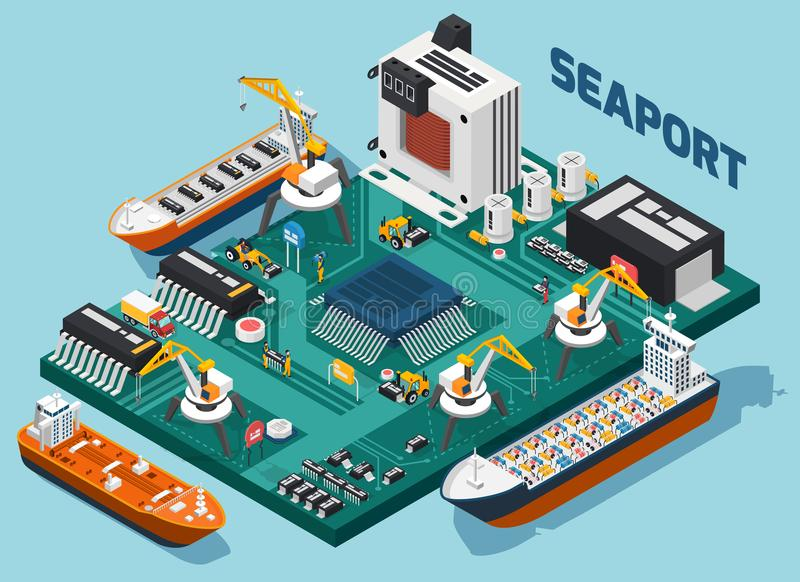 Composição isométrica do porto dos componentes eletrônicos do semicondutor ilustração do vetor