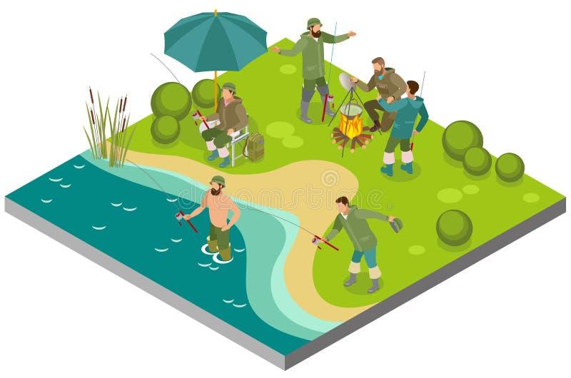 Composição isométrica do turismo da pesca ilustração stock