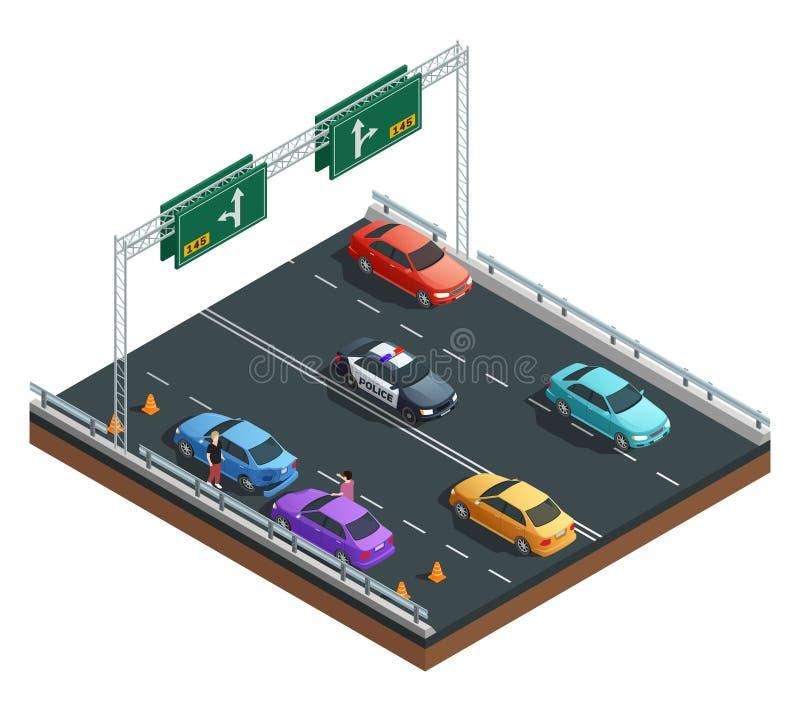 Composição isométrica dos acidentes de trânsito ilustração do vetor
