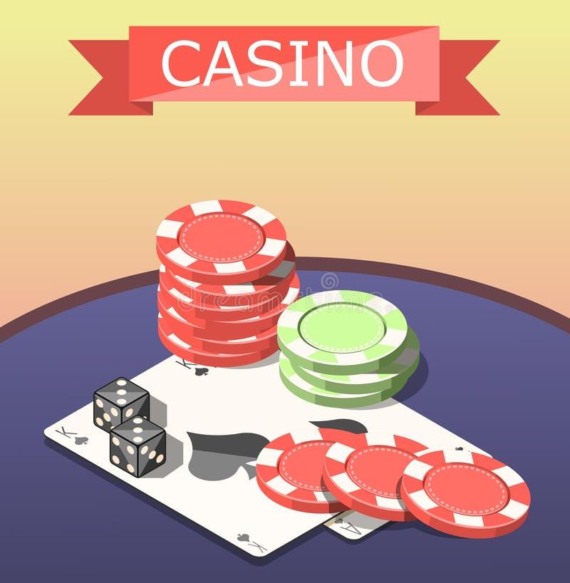 Composição isométrica dos jogos de mesa do casino ilustração stock