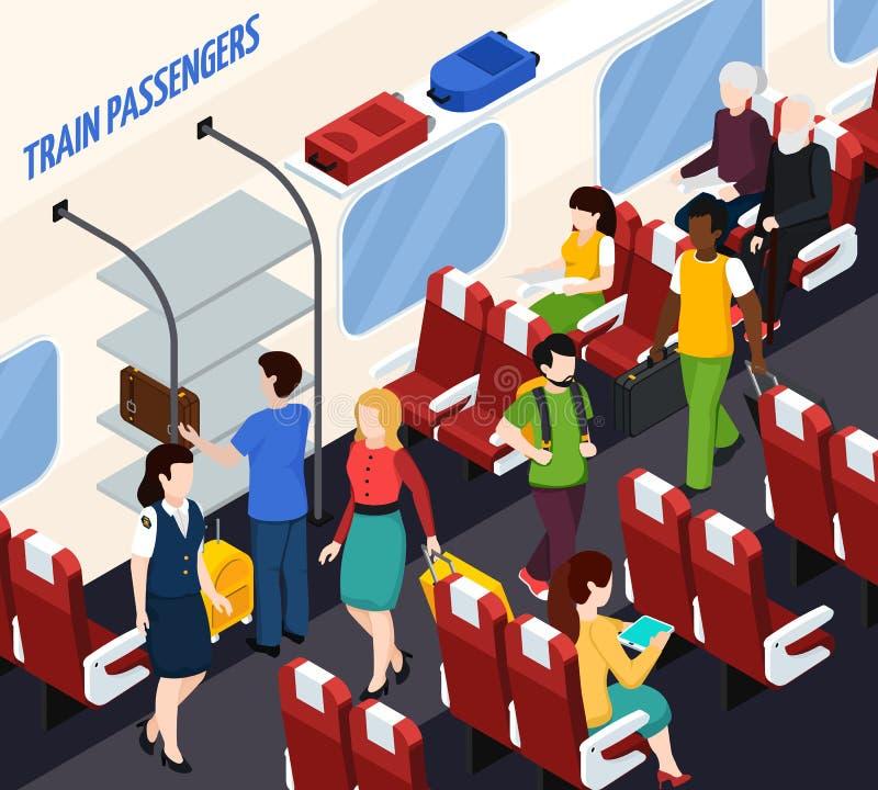 Composição isométrica dos passageiros do trem ilustração do vetor