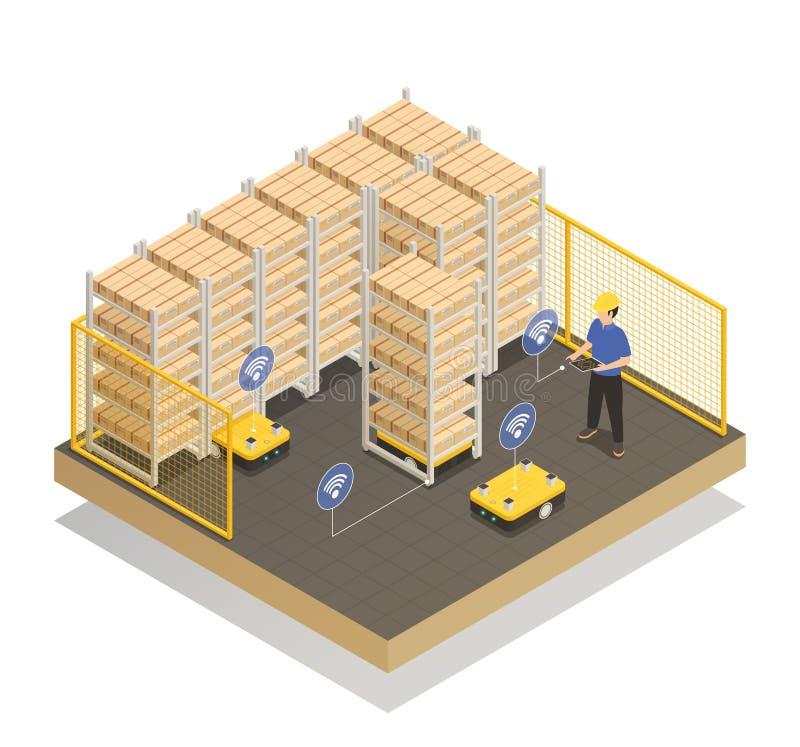 Composição isométrica dos robôs espertos da indústria ilustração stock