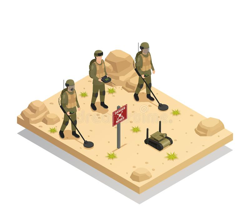 Composição isométrica dos robôs militares do Demining ilustração stock