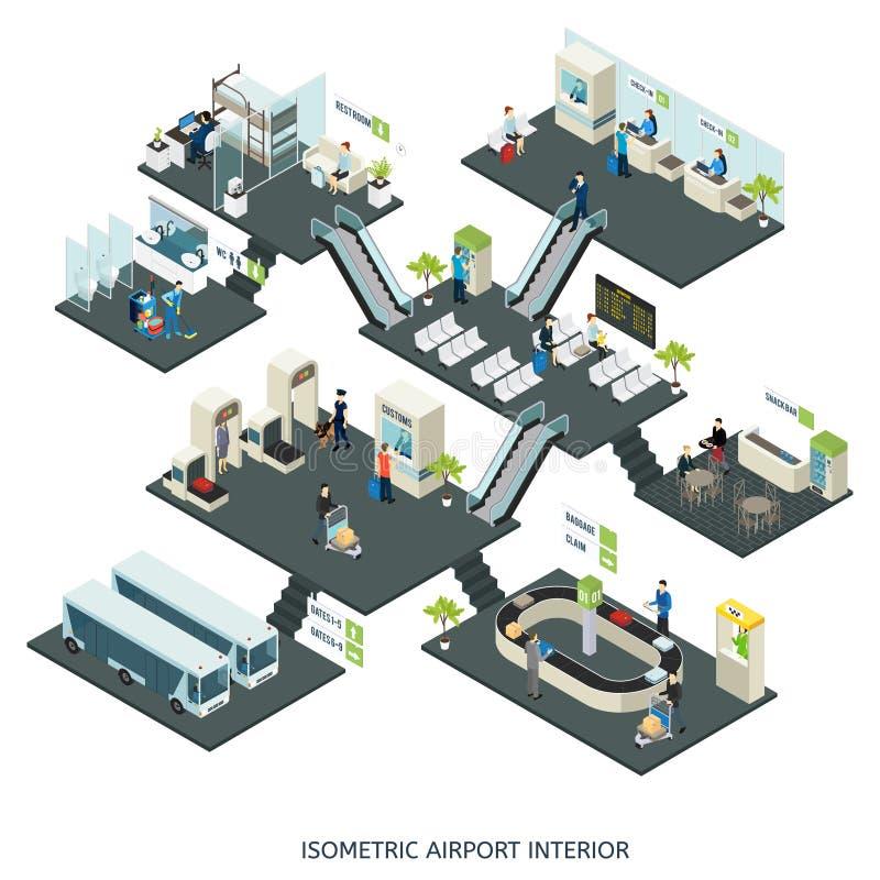 Composição isométrica dos salões do aeroporto ilustração do vetor