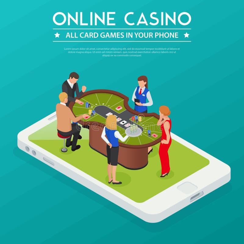 Composição isométrica em linha do casino ilustração royalty free