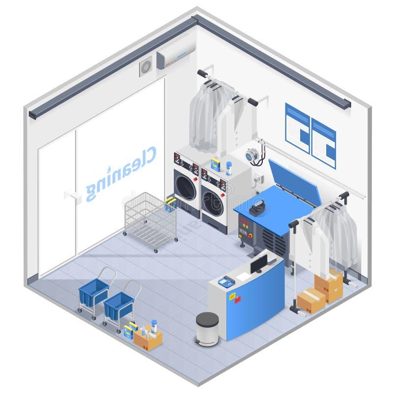 Composição isométrica interior da lavanderia ilustração stock