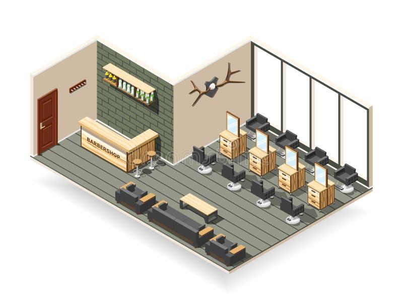 Composição isométrica interior do barbeiro ilustração stock
