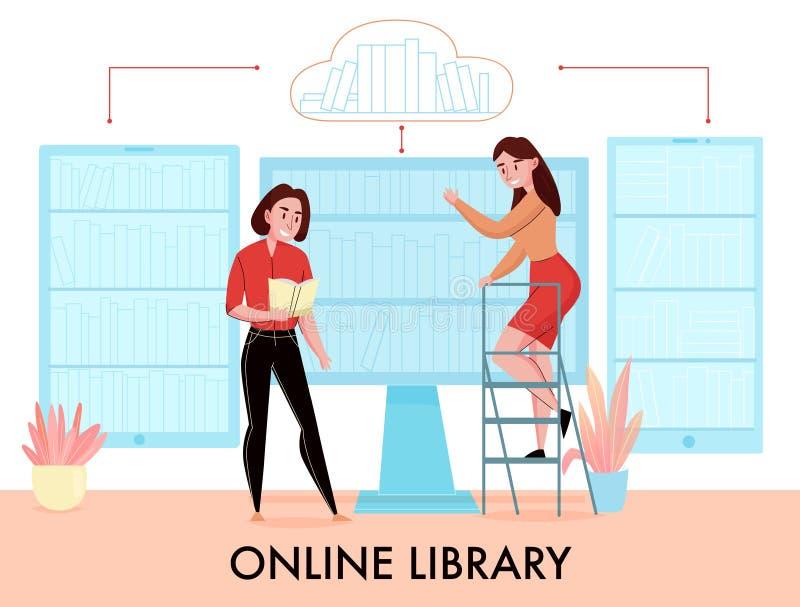 Composição lisa da biblioteca em linha ilustração do vetor