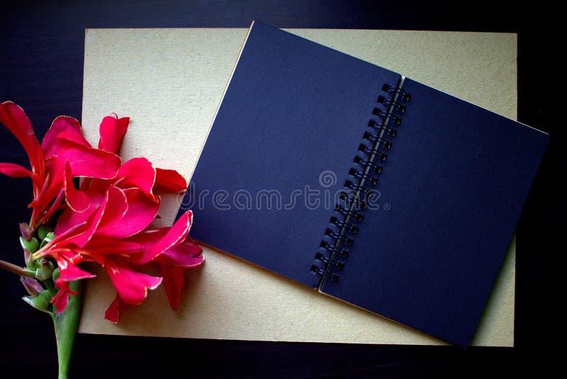 Composição lisa da configuração com flor vermelha, papel do ofício e o caderno de papel preto fotografia de stock royalty free