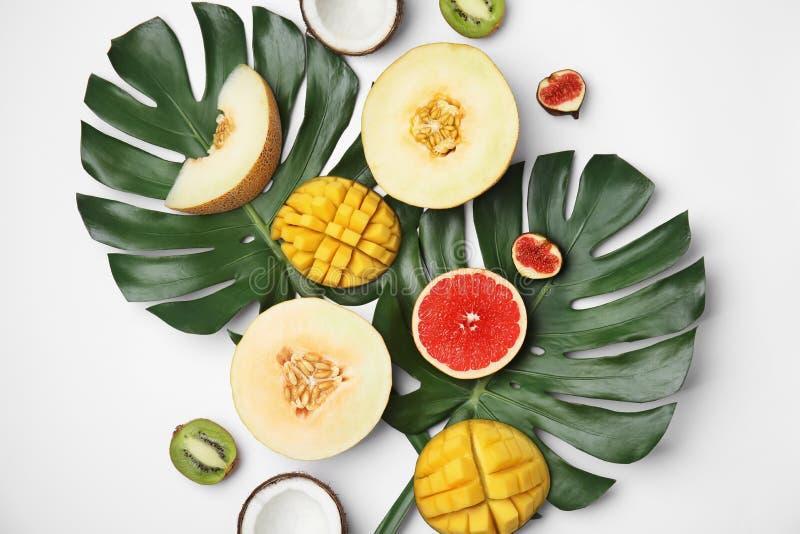 Composição lisa da configuração com melão e outros frutos imagens de stock royalty free