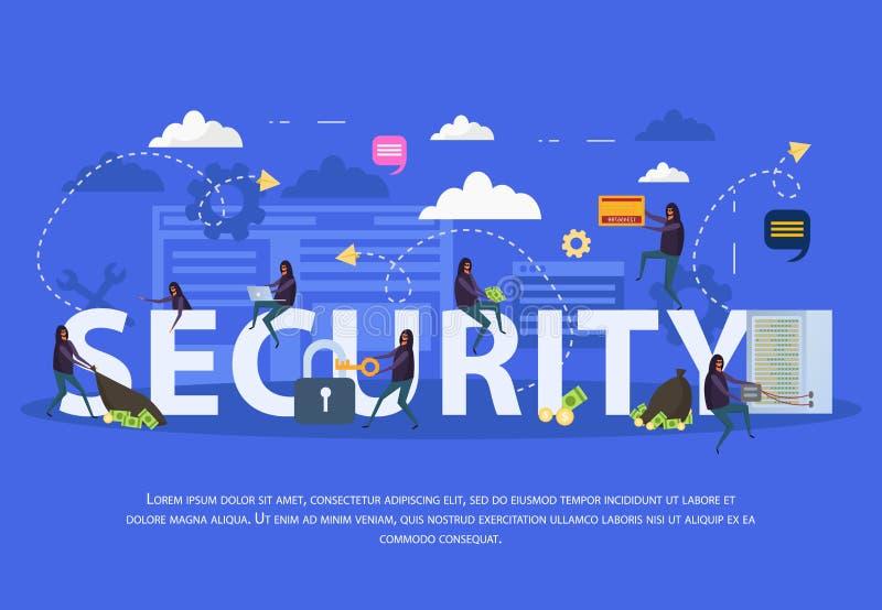 Composição lisa da segurança do Cyber ilustração stock