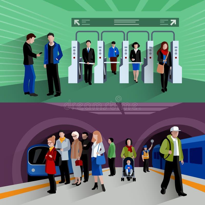 Composição lisa das bandeiras dos passageiros 2 do metro ilustração royalty free