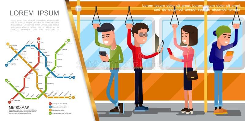 Composição lisa do transporte público ilustração stock
