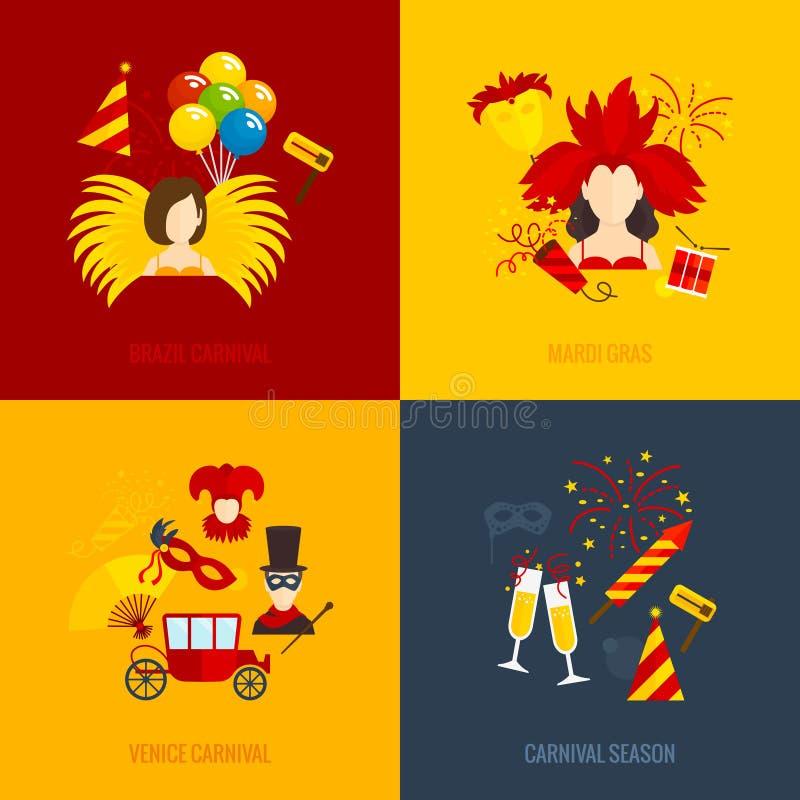 Composição lisa dos ícones do carnaval ilustração do vetor