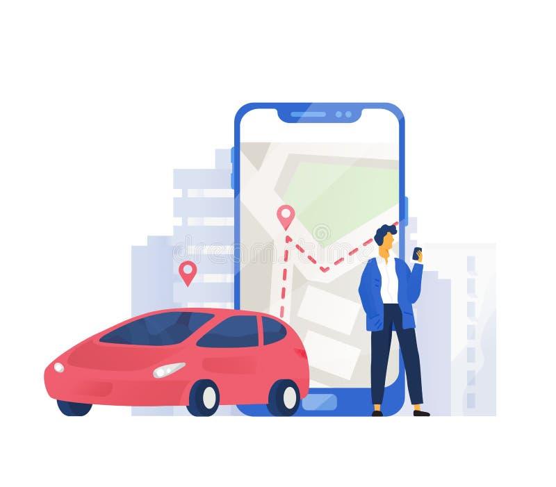 Composição moderna com posição do automóvel e do caráter masculino ao lado do telefone celular gigante com o mapa da cidade na te ilustração royalty free