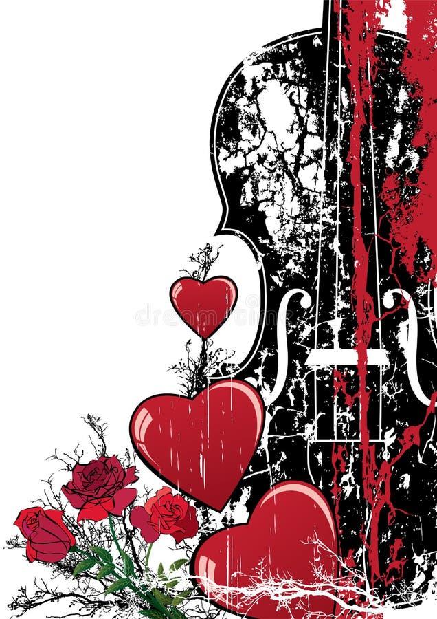 Composição musical do Valentim floral do vetor ilustração royalty free