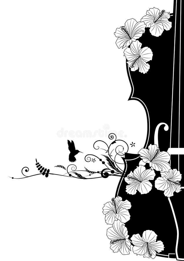Composição musical floral do vetor ilustração do vetor
