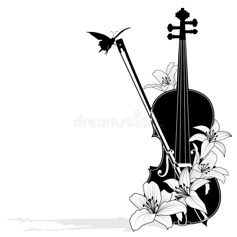 Composição musical floral do vetor ilustração royalty free