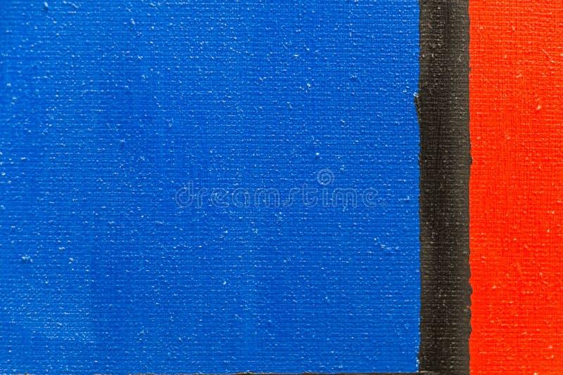 Composição na lona com azul, o vermelho e o preto fotografia de stock royalty free