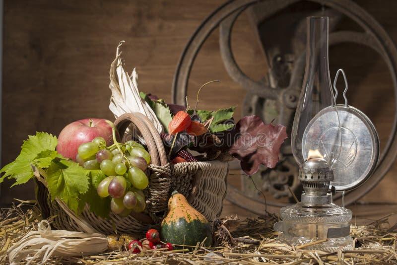 Composição pitoresca do outono com cesta, frutos, abóbora, vitória imagens de stock royalty free
