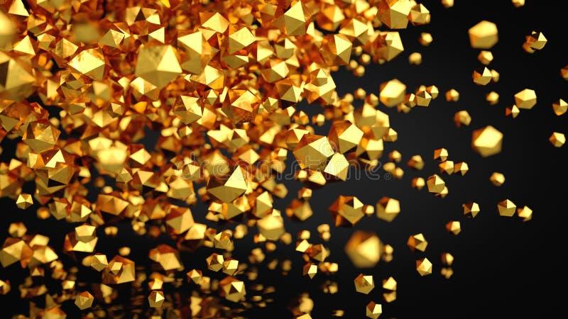 composição platônico do ouro do sumário 3D, fundo, rendendo ilustração do vetor