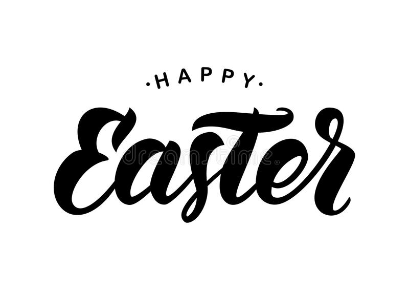 Composição preta escrita à mão da rotulação da escova da Páscoa feliz no fundo branco ilustração do vetor