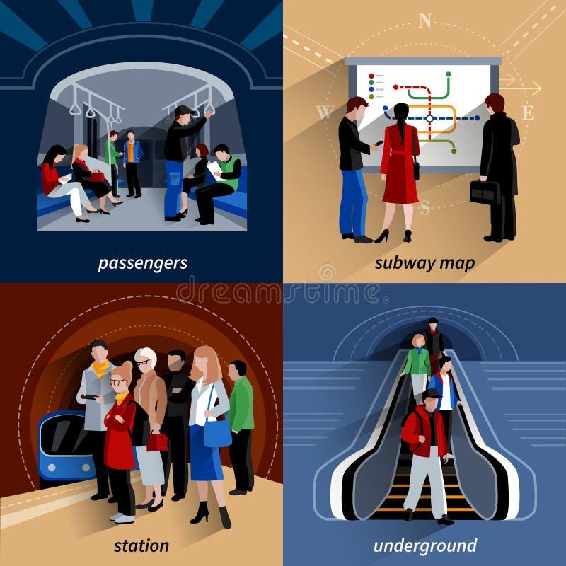 Composição quadrada dos ícones lisos do metro 4 ilustração do vetor