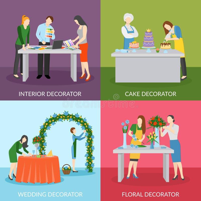 Composição quadrada dos ícones lisos profissionais dos decoradores ilustração do vetor