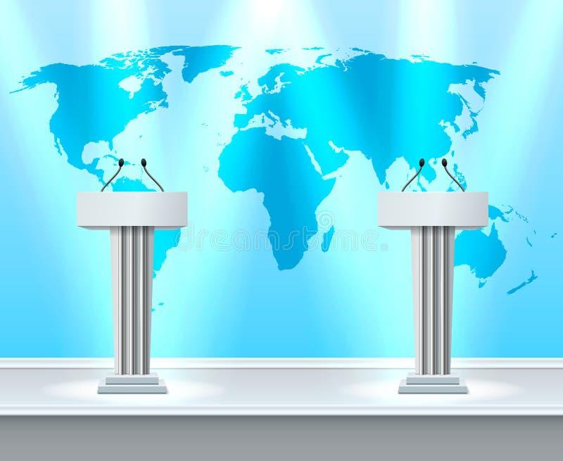 Composição realística do debate da tribuna ilustração do vetor